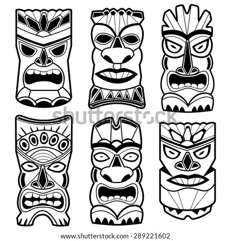 Hawaiian tiki statue masks black and white set. Vector illustration set of cartoon carved Hawaiian tiki god statue black and white masks.  - stock vector