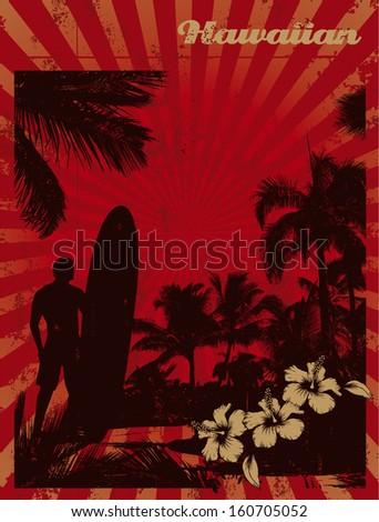 hawaiian vintage surf poster - stock vector