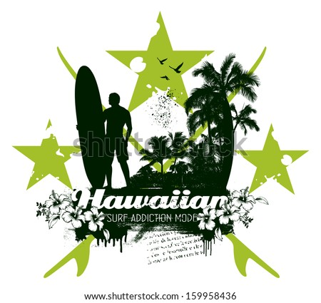 hawaiian vintage surf scene - stock vector