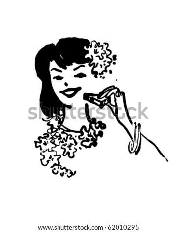 Hawaiian Woman - Retro Clipart - stock vector