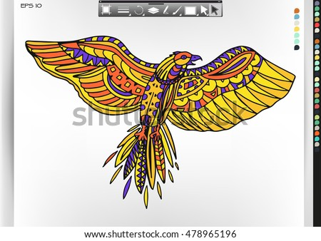 Hawk. Animal patterns with hand-drawn doodle waves and lines. Vector illustration in bright colors.