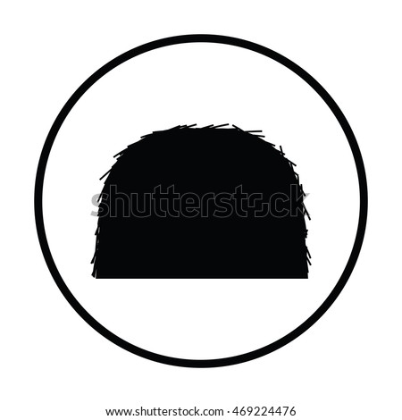 Hay stack icon. Thin circle design. Vector illustration.