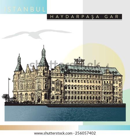 Haydarpasa Railway Terminal in Istanbul, Turkey. Vector, illustration - stock vector