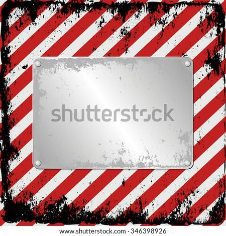 hazard background with plaque - stock vector