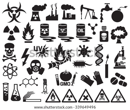 hazard, pollution and danger icons set (barrels with nuclear waste, gas mask, cigarette, DNA, dynamite, explosion, factory, biohazard, radiation sign, pipeline) - stock vector