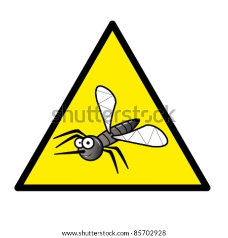 Hazard sign with a mosquito in it - stock vector
