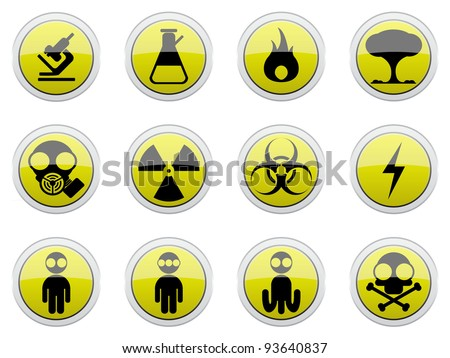 Hazard signs and effects of hazardous materials icon set - stock vector