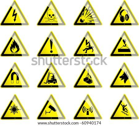 Hazard Symbols 1 - stock vector