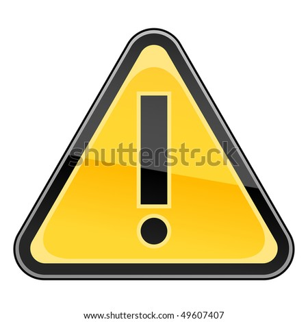 Hazard warning attention sign with exclamation mark symbol - stock vector