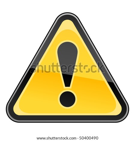 Hazard warning attention sign with exclamation mark symbol on white - stock vector
