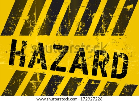 hazard warning sign, worn and grungy, vector scalable eps 10  - stock vector