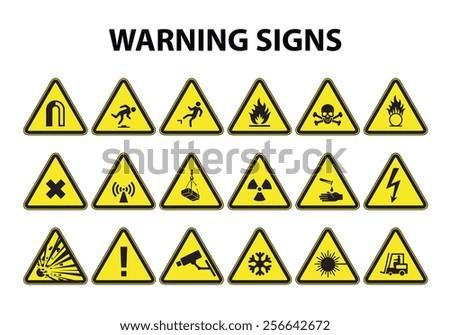 Hazard warning signs set - stock vector