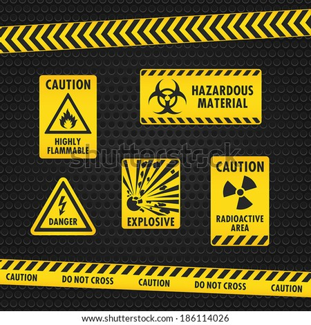 Hazard Warning Tape and Labels - stock vector