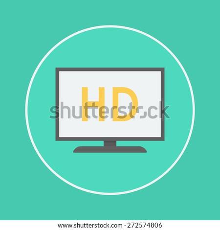 hd tv icon - stock vector