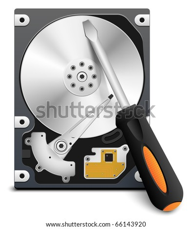 HDD repair icon, vector - stock vector