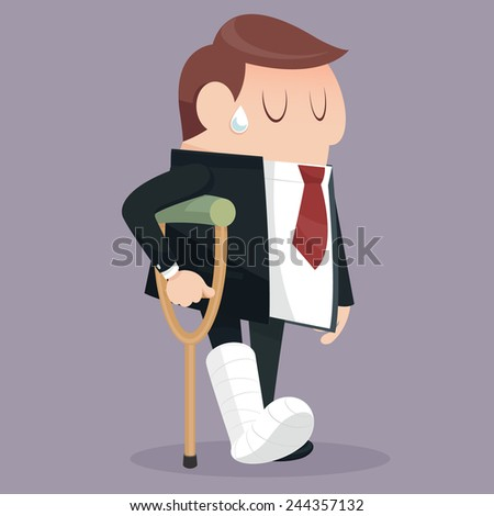 He got hurt in the Businessman failure - stock vector