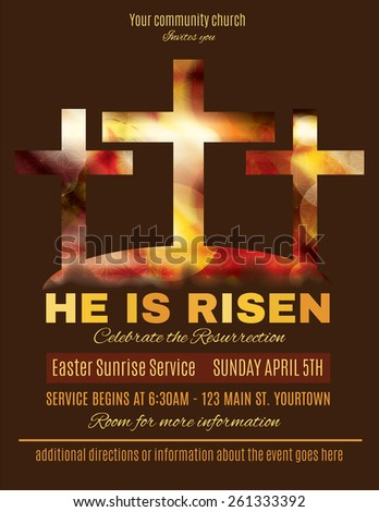 He is Risen Easter Sunrise Service Flyer template - stock vector
