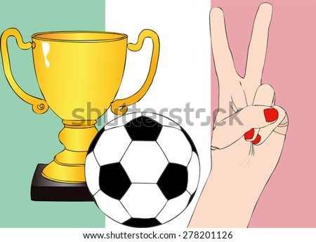 He won Italy - Illustration depicting the joy of a supporter for the cup won in a football tournament for nations - stock vector