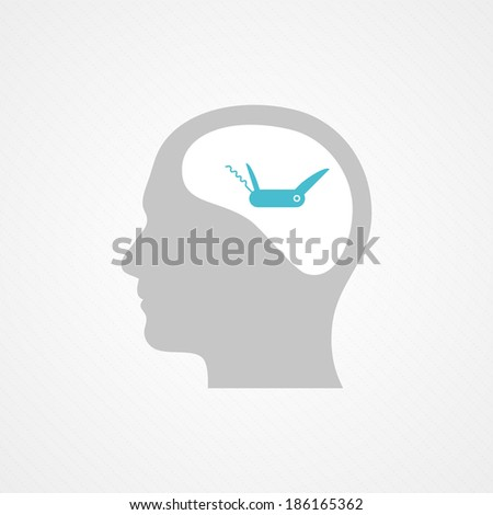 Head and army knife multi-tool - stock vector