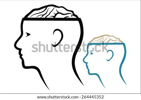 Head and Brain - stock vector