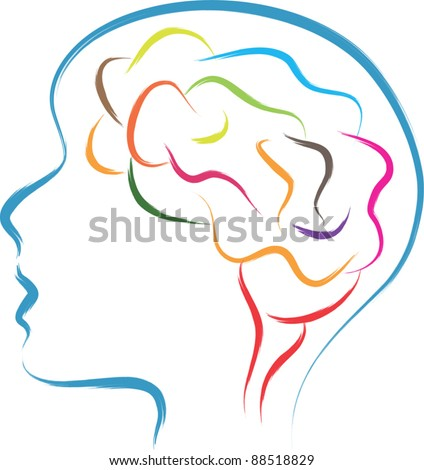 head and  brain abstract illustration - stock vector
