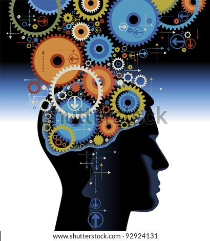 Head and brain gears in progress. concept of human thinking - stock vector