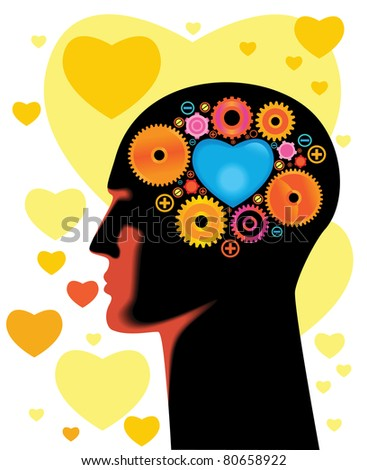 Head and Brain Gears in Progress.think about love - stock vector