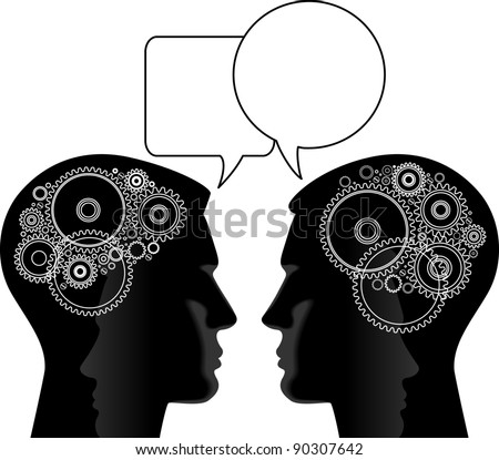 Head and Brain Gears in Progress. This format can be blown up to any size without loss of quality. - stock vector