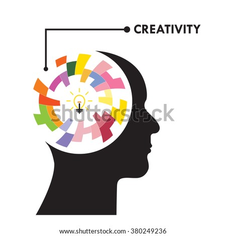 Head and Creative bulb light idea,flat design.Concept of ideas inspiration,innovation, invention, effective thinking, knowledge and education.Corporate business industrial  symbol.Vector illustration. - stock vector