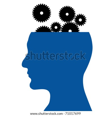 Head and gear wheel on a white background - stock vector