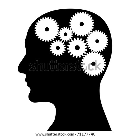 Head and mechanism on a white background