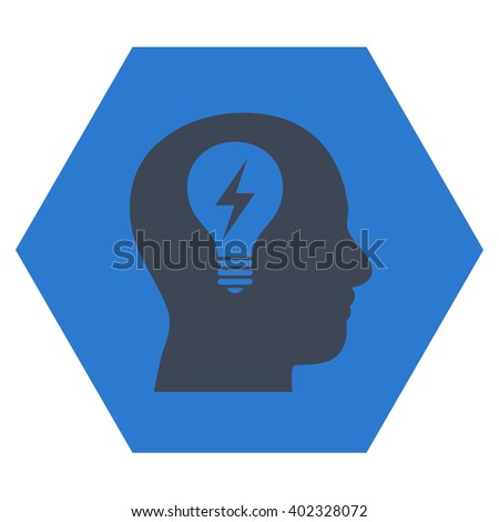 Head Bulb vector symbol. Image style is bicolor flat head bulb icon symbol drawn on a hexagon with smooth blue colors. - stock vector