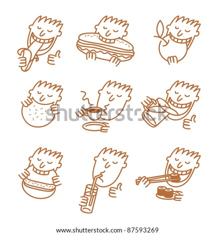 head eating a meal - stock vector
