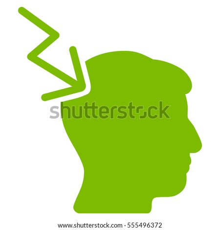 Head Electric Strike vector pictogram. Style is flat graphic symbol, eco green color, white background.