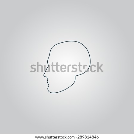 Head. Flat web icon, sign or button isolated on grey background. Collection modern trend concept design style vector illustration symbol