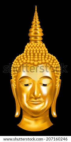 Head Golden Buddha. Vector illustration. - stock vector