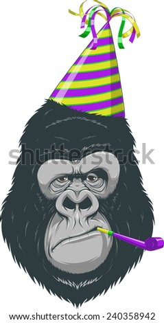 Head gorilla in a cap - stock vector