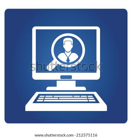 head hunter, online recruitment - stock vector