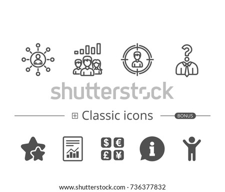 head hunting business networking and teamwork line icons get a job communication and