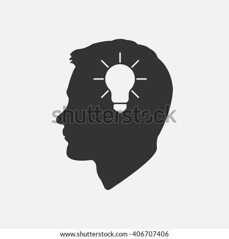 Head idea icon vector, solid illustration, pictogram isolated on white - stock vector