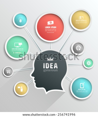 Head idea link circle. Vector illustration. Can be used for brain storming concept. - stock vector