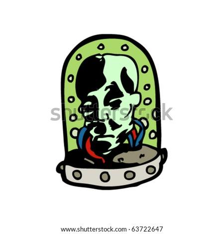 head in a jar cartoon - stock vector