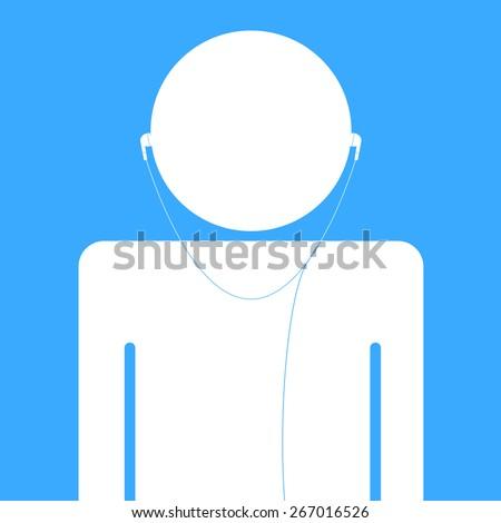 Head in Headphones icon sign vector illustration - stock vector