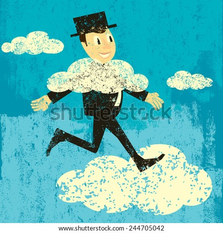 Head in the clouds A man walking with his head in the clouds. The man, clouds, and background are on separate labeled layers.  - stock vector