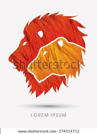 Head Lion and Lioness designed using line grunge brush graphic vector. - stock vector