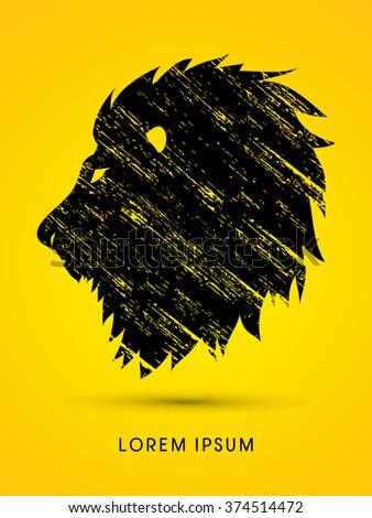 Head Lion designed using grunge brush graphic vector. - stock vector