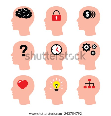 Head, man thoughts, brain vector icons set - stock vector