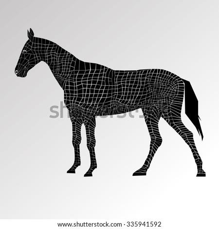 head mustang icon equestrian animal black farm - stock vector