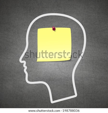 Head notes with a blank yellow paper note as a business reminder as a to do list. - stock vector