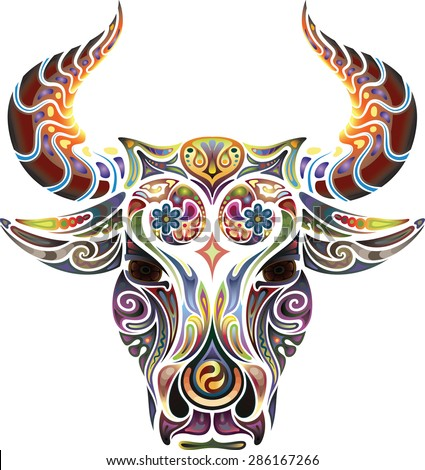 Head of a bull. - stock vector